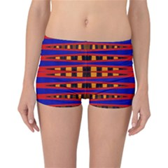 Bright Blue Red Yellow Mod Abstract Reversible Boyleg Bikini Bottoms