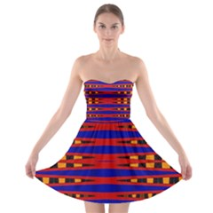 Bright Blue Red Yellow Mod Abstract Strapless Dresses