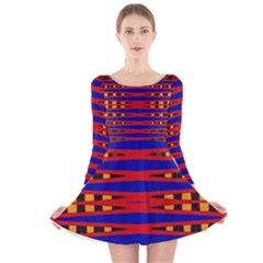 Bright Blue Red Yellow Mod Abstract Long Sleeve Velvet Skater Dress