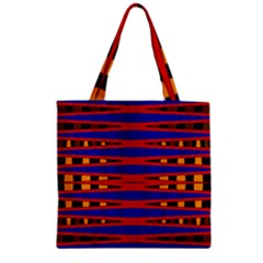 Bright Blue Red Yellow Mod Abstract Zipper Grocery Tote Bag