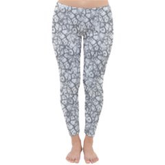 Officially Sexy Grey & White Cracked Pattern Winter Leggings  by OfficiallySexy