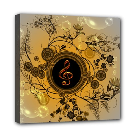 Decorative Clef On A Round Button With Flowers And Bubbles Mini Canvas 8  X 8  by FantasyWorld7