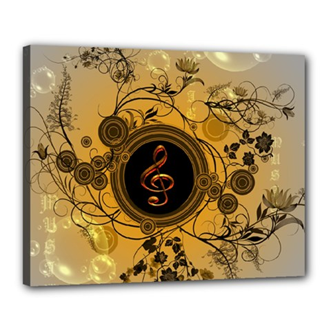 Decorative Clef On A Round Button With Flowers And Bubbles Canvas 20  X 16  by FantasyWorld7