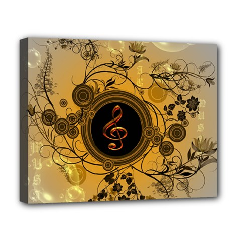 Decorative Clef On A Round Button With Flowers And Bubbles Deluxe Canvas 20  X 16   by FantasyWorld7