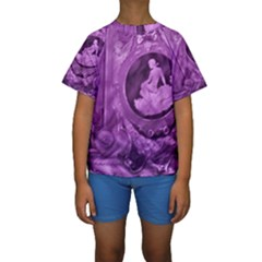 Vintage Purple Lady Cameo Kid s Short Sleeve Swimwear by BrightVibesDesign