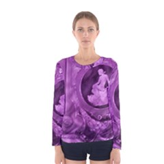 Vintage Purple Lady Cameo Women s Long Sleeve Tee by BrightVibesDesign