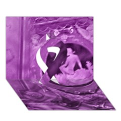 Vintage Purple Lady Cameo Ribbon 3d Greeting Card (7x5)  by BrightVibesDesign