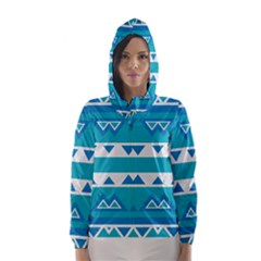 Blue Triangles And Stripes  Hooded Wind Breaker (women)