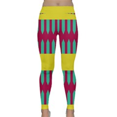 Stripes And Other Shapes   Yoga Leggings by LalyLauraFLM