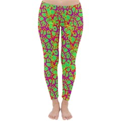 Officially Sexy Neon Green Pink Purple & Yellow Cracked Pattern Winter Leggings  by OfficiallySexy