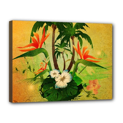 Tropical Design With Flowers And Palm Trees Canvas 16  X 12  by FantasyWorld7