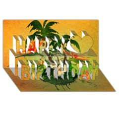 Tropical Design With Flowers And Palm Trees Happy Birthday 3d Greeting Card (8x4)  by FantasyWorld7