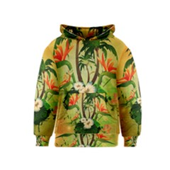 Tropical Design With Flowers And Palm Trees Kids  Pullover Hoodie by FantasyWorld7