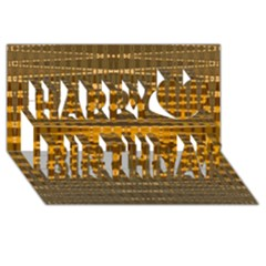 Yellow Gold Khaki Glow Pattern Happy Birthday 3d Greeting Card (8x4)  by BrightVibesDesign