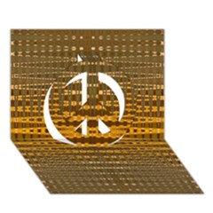 Yellow Gold Khaki Glow Pattern Peace Sign 3d Greeting Card (7x5)  by BrightVibesDesign