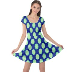 Mod Retro Green Circles On Blue Cap Sleeve Dresses by BrightVibesDesign