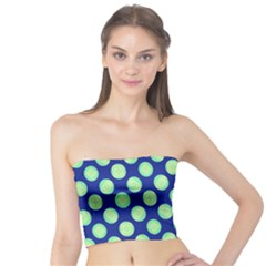 Mod Retro Green Circles On Blue Tube Top