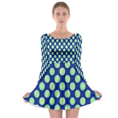 Mod Retro Green Circles On Blue Long Sleeve Skater Dress by BrightVibesDesign