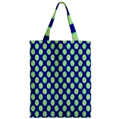 Mod Retro Green Circles On Blue Zipper Classic Tote Bag by BrightVibesDesign