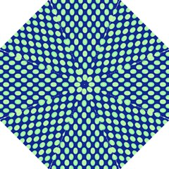 Mod Retro Green Circles On Blue Folding Umbrellas by BrightVibesDesign