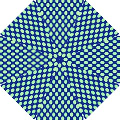 Mod Retro Green Circles On Blue Golf Umbrellas by BrightVibesDesign