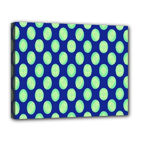 Mod Retro Green Circles On Blue Canvas 14  X 11  by BrightVibesDesign