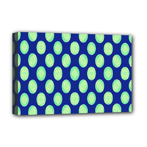 Mod Retro Green Circles On Blue Deluxe Canvas 18  X 12   by BrightVibesDesign
