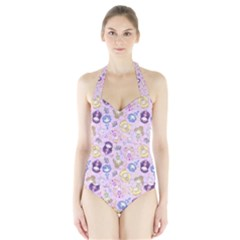Cutie Moons Women s Halter One Piece Swimsuit by Ellador