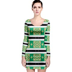 Green Rhombus And Stripes           Long Sleeve Bodycon Dress by LalyLauraFLM