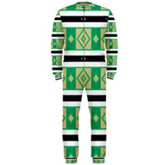 Green Rhombus And Stripes           Onepiece Jumpsuit (men) by LalyLauraFLM