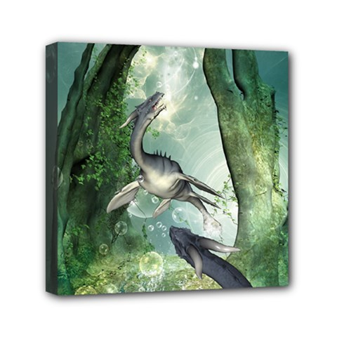 Awesome Seadraon In A Fantasy World With Bubbles Mini Canvas 6  X 6  by FantasyWorld7