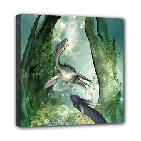 Awesome Seadraon In A Fantasy World With Bubbles Mini Canvas 8  X 8  by FantasyWorld7