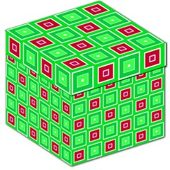 Green Red Squares Pattern    Storage Stool by LalyLauraFLM