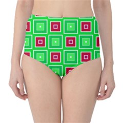 Green Red Squares Pattern    High-waist Bikini Bottoms by LalyLauraFLM