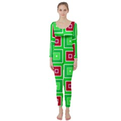 Green Red Squares Pattern     Long Sleeve Catsuit by LalyLauraFLM