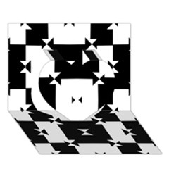 Black And White Check Pattern Heart 3d Greeting Card (7x5)