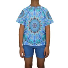 Sapphire Ice Flame, Light Bright Crystal Wheel Kid s Short Sleeve Swimwear by DianeClancy