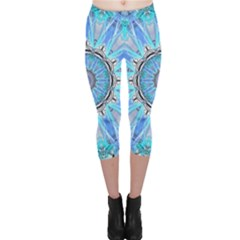 Sapphire Ice Flame, Light Bright Crystal Wheel Capri Leggings  by DianeClancy