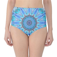 Sapphire Ice Flame, Light Bright Crystal Wheel High Waist Bikini Bottoms by DianeClancy