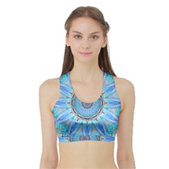 Sapphire Ice Flame, Light Bright Crystal Wheel Women s Sports Bra With Border by DianeClancy