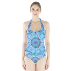 Sapphire Ice Flame, Light Bright Crystal Wheel Women s Halter One Piece Swimsuit by DianeClancy