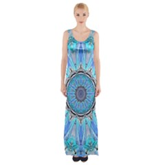 Sapphire Ice Flame, Light Bright Crystal Wheel Maxi Thigh Split Dress by DianeClancy