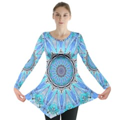 Sapphire Ice Flame, Light Bright Crystal Wheel Long Sleeve Tunic  by DianeClancy