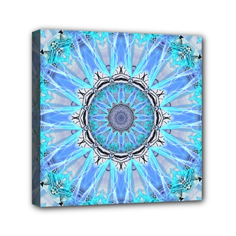 Sapphire Ice Flame, Light Bright Crystal Wheel Mini Canvas 6  X 6  by DianeClancy