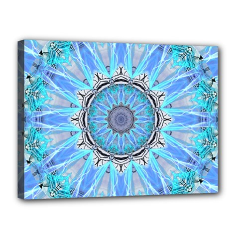 Sapphire Ice Flame, Light Bright Crystal Wheel Canvas 16  X 12  by DianeClancy