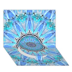 Sapphire Ice Flame, Light Bright Crystal Wheel Circle Bottom 3d Greeting Card (7x5)  by DianeClancy