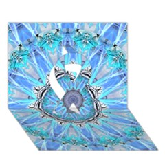 Sapphire Ice Flame, Light Bright Crystal Wheel Ribbon 3d Greeting Card (7x5)  by DianeClancy