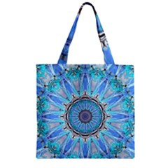 Sapphire Ice Flame, Light Bright Crystal Wheel Zipper Grocery Tote Bag by DianeClancy