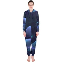 The Music Of My Goddess, Abstract Cyan Mystery Planet Hooded Jumpsuit (ladies)  by DianeClancy
