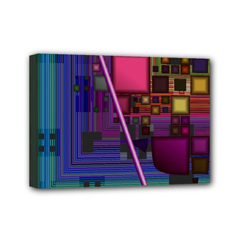 Jewel City, Radiant Rainbow Abstract Urban Mini Canvas 7  X 5  by DianeClancy